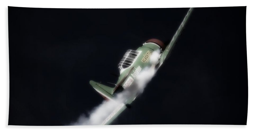 North American T-6 Harvard Bath Sheet featuring the photograph Into The Black Sky by Paul Job