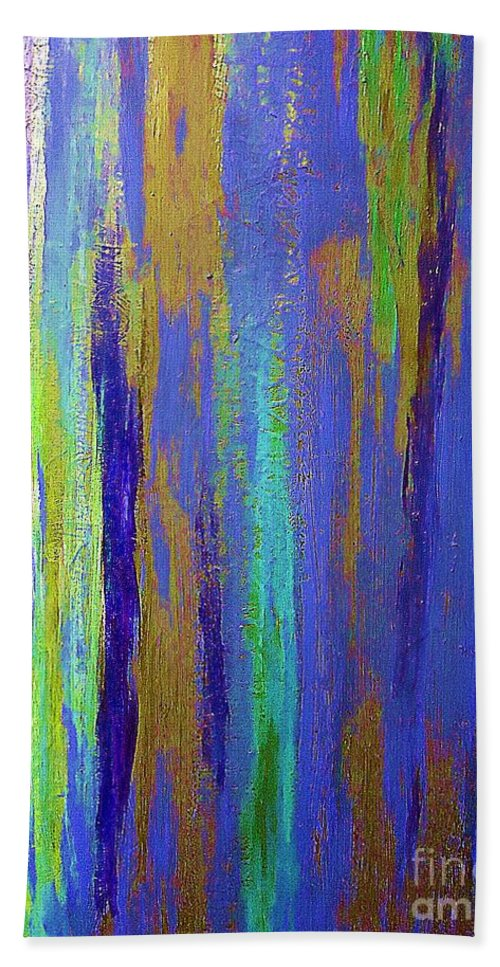 Into The Blue Abstract Bath Sheet featuring the painting Into The Blue Abstract 2 by Saundra Myles