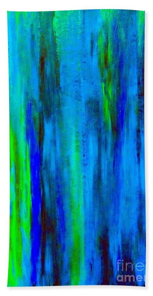 Abstract Blue Bath Sheet featuring the painting Into The Blue by Saundra Myles