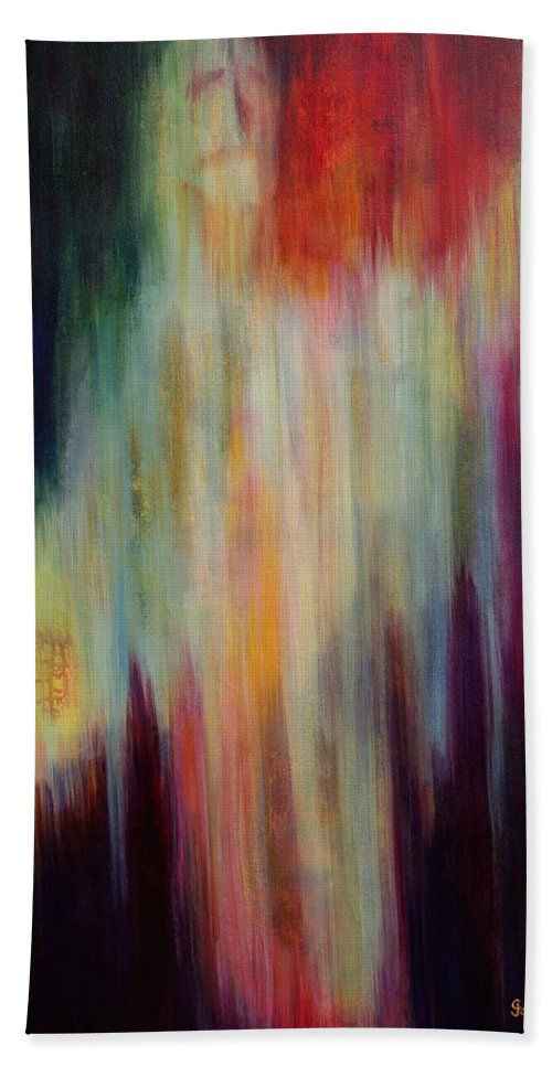 Abstract Art Bath Sheet featuring the painting Into The Light by Cindy Johnston