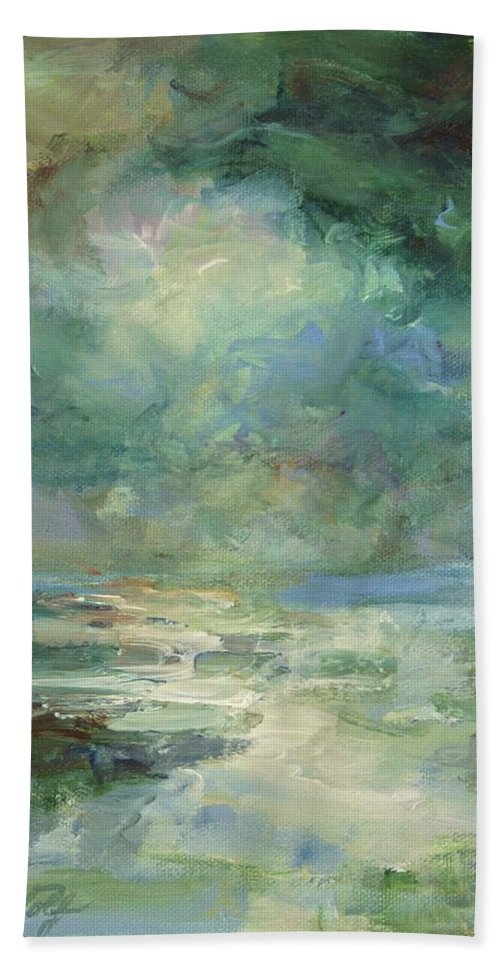 Impressionism Bath Towel featuring the painting Into The Light by Mary Wolf