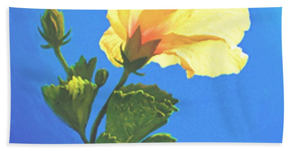 Yellow Hibiscus Hand Towel featuring the painting Into The Light by Sophia Schmierer