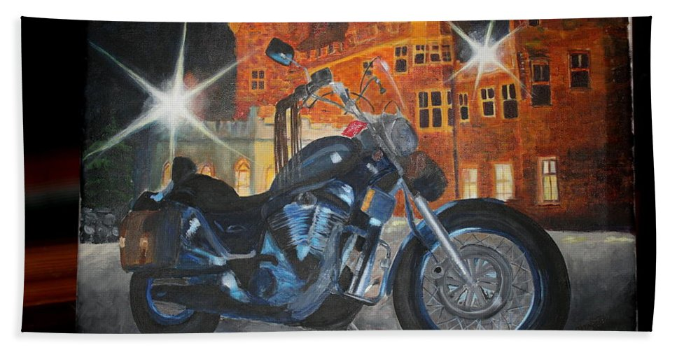 Suzuki Bath Towel featuring the painting Intruder In Blue by Frankie Picasso