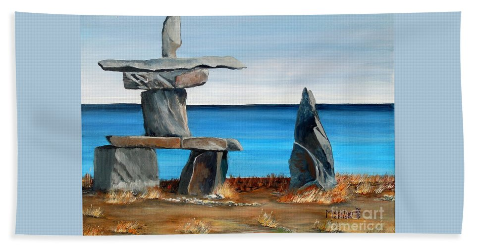 Inuit Hand Towel featuring the painting Inukshuk 3 by Marilyn McNish
