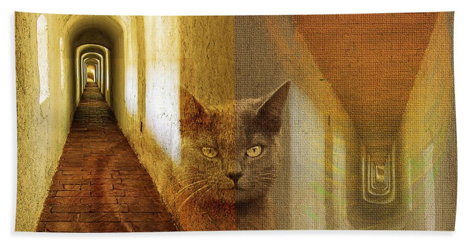 Cat Hand Towel featuring the digital art Inversion by Diane Parnell