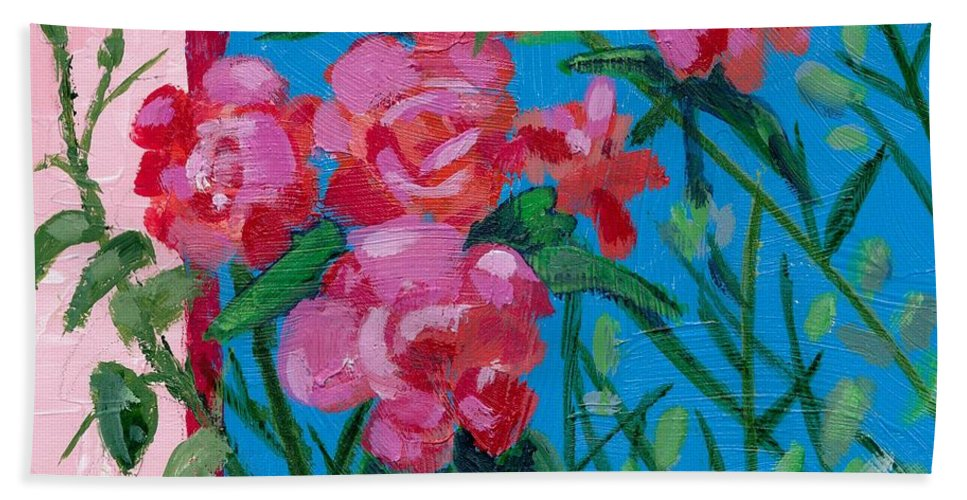 Flowers Bath Sheet featuring the painting Ioannina Garden by Adele Bower