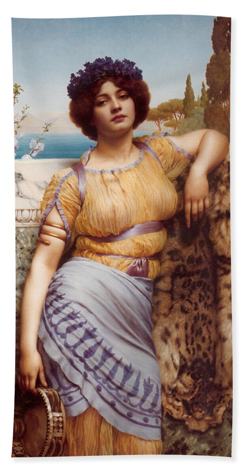 John William Godward Bath Sheet featuring the digital art Ionian Dancking Girl by John William Godward