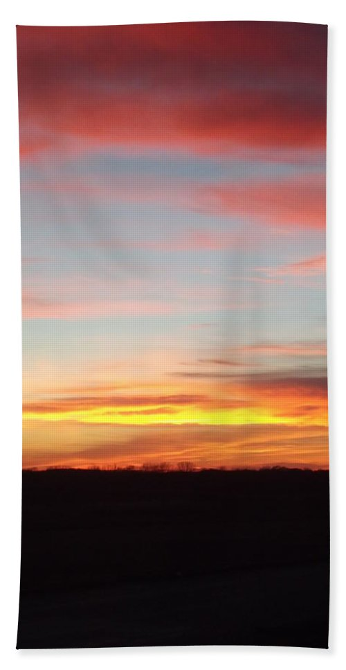 Sunset Hand Towel featuring the photograph Iowa Sunset by Bonfire Photography
