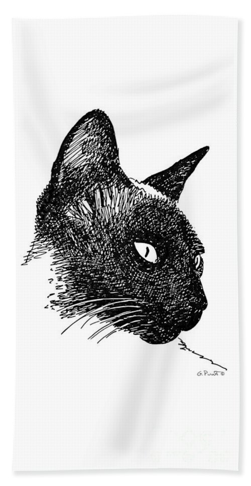 Iphone Bath Sheet featuring the drawing iPhone-Case-Cat-Siamese by Gordon Punt