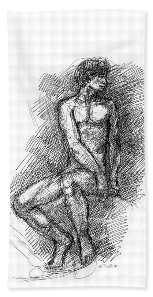 Iphones Bath Sheet featuring the drawing iPhone-Case-Nude-Male1 by Gordon Punt
