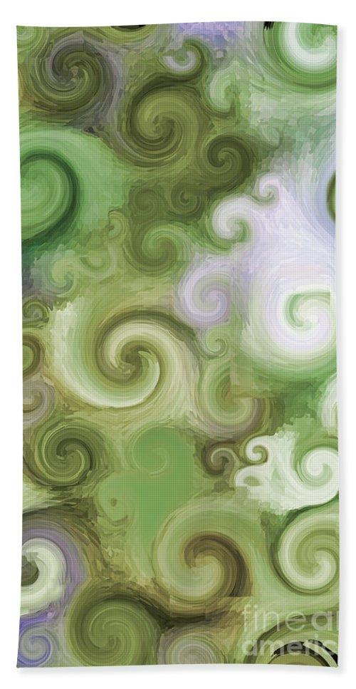Iphone Bath Sheet featuring the digital art Iphone Green Swirl Abstract by Debbie Portwood