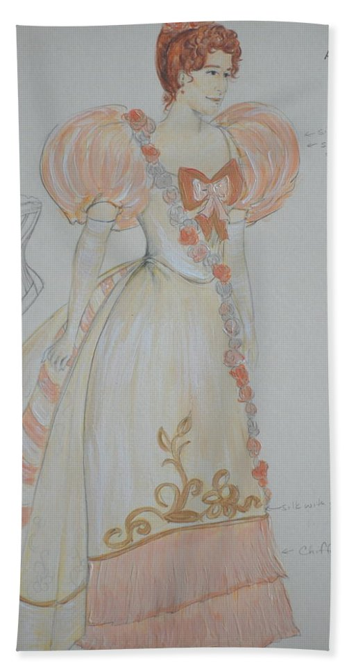 Costume Design Bath Sheet featuring the mixed media Irina From 'the Three Sisters' by Jennifer Christenson