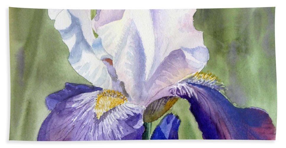 Iris Bath Sheet featuring the painting Iris   by Irina Sztukowski