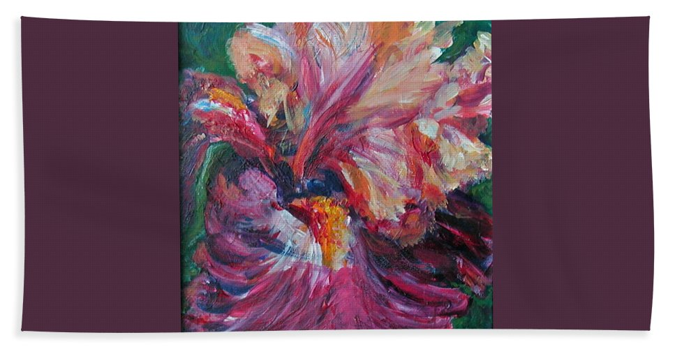 Impressionism Hand Towel featuring the painting Iris - Bold Impressionist Painting by Quin Sweetman