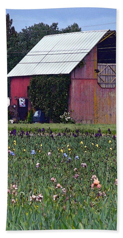 Irises Bath Sheet featuring the digital art Iris Field And Barn by Gary Olsen-Hasek