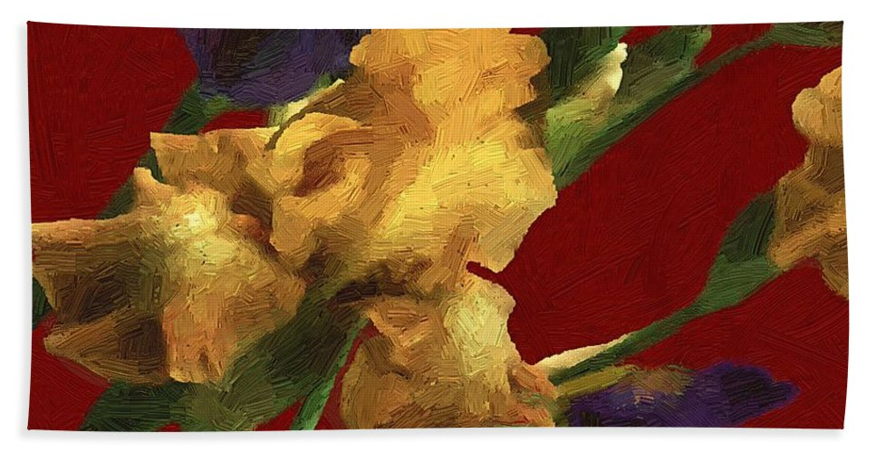 Flowers Hand Towel featuring the painting Iris In The Rough by RC DeWinter