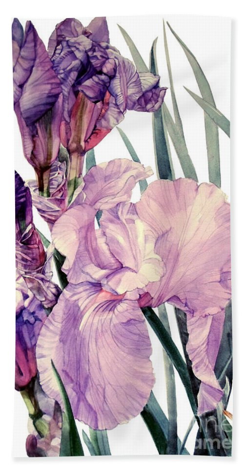 Watercolor Hand Towel featuring the painting Watercolor Of An Elegant Tall Bearded Iris In Pink And Purple I Call Iris Joan Sutherland by Greta Corens