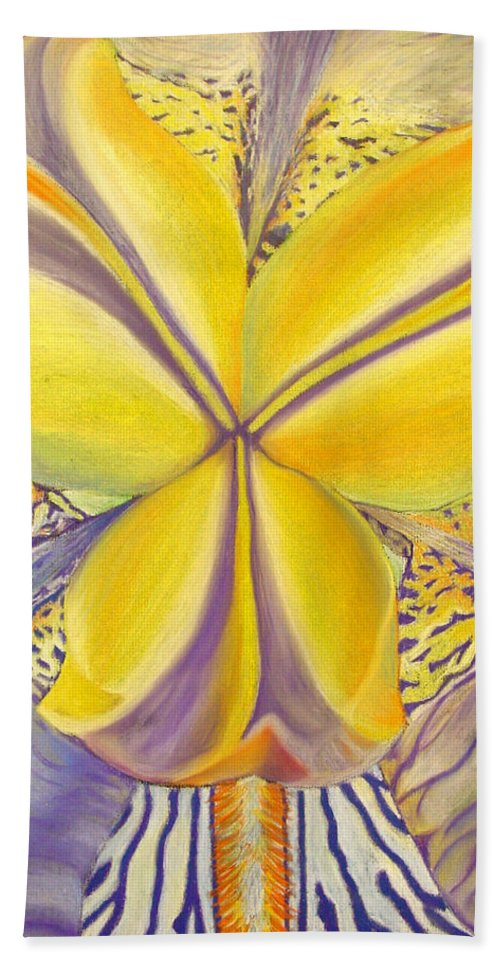 Flower Bath Towel featuring the drawing Iris by Joshua Morton