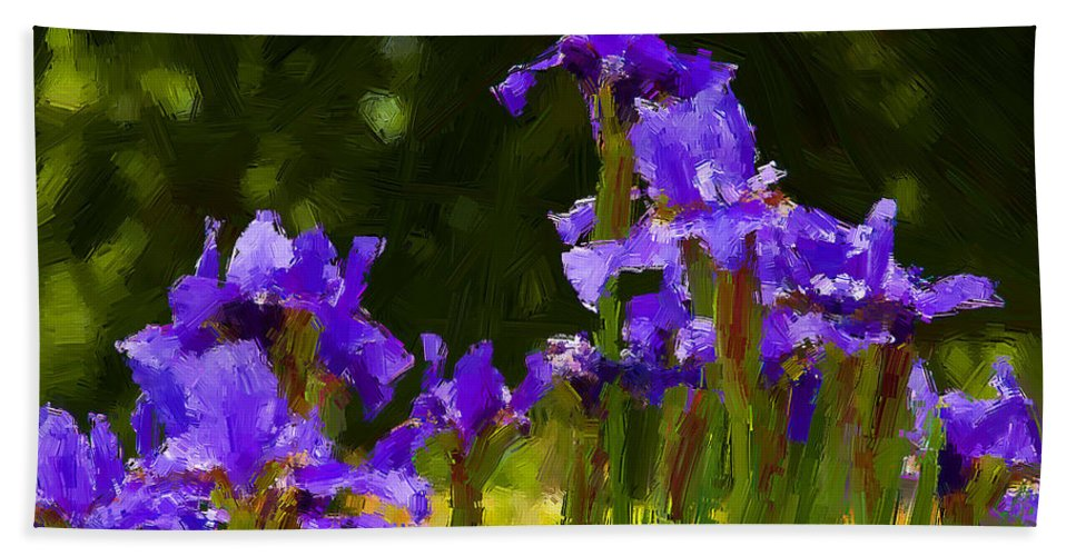 Irises Bath Sheet featuring the photograph Iris Radiance by Alice Gipson