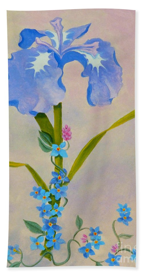 Iris Bath Sheet featuring the painting Iris With Forget Me Nots by Teresa Ascone