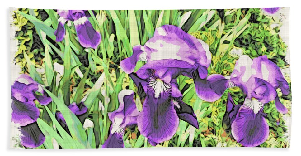 Irises Bath Sheet featuring the photograph Irises In The Garden by Alice Gipson
