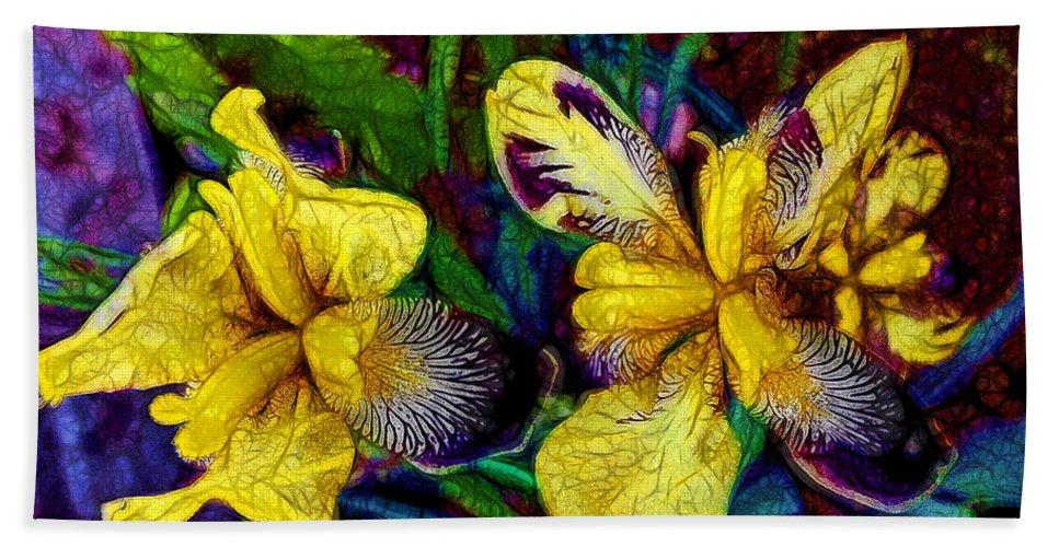 Iris Irises Flower Floral Garden Gardening Summer Horticulture Color Yellow Purple Hand Towel featuring the digital art Irises by William Sargent