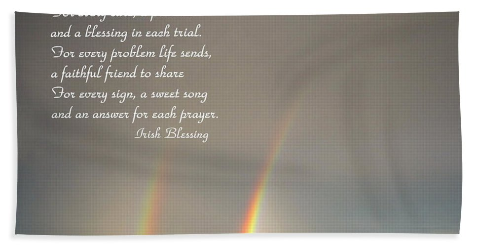 Blessing Bath Sheet featuring the photograph Irish Blessing Double Rainbow 07 11 14 by Joyce Dickens