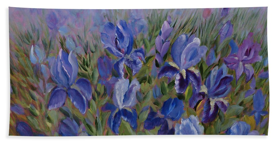 Spring Hand Towel featuring the painting Irises by Joanne Smoley