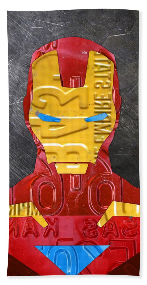 Iron Man Bath Sheet featuring the mixed media Iron Man Superhero Vintage Recycled License Plate Art Portrait by Design Turnpike