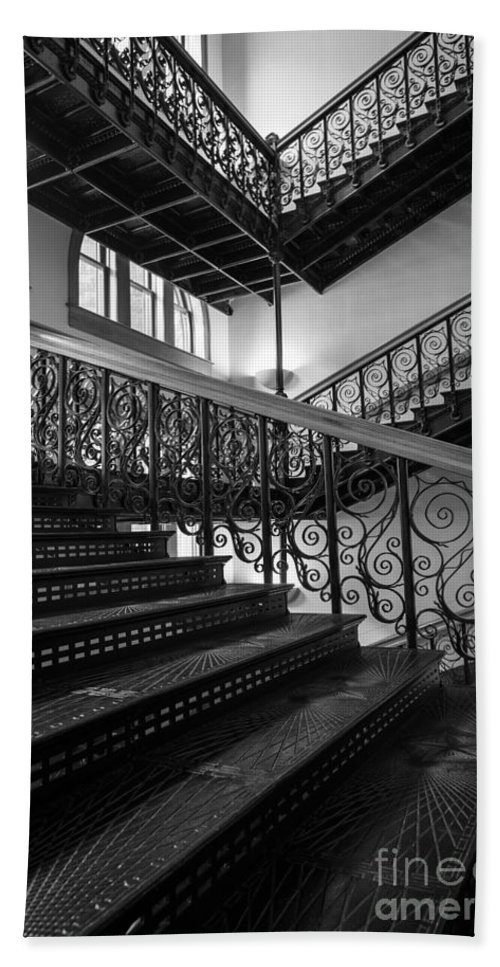America Bath Sheet featuring the photograph Iron Staircases by Inge Johnsson