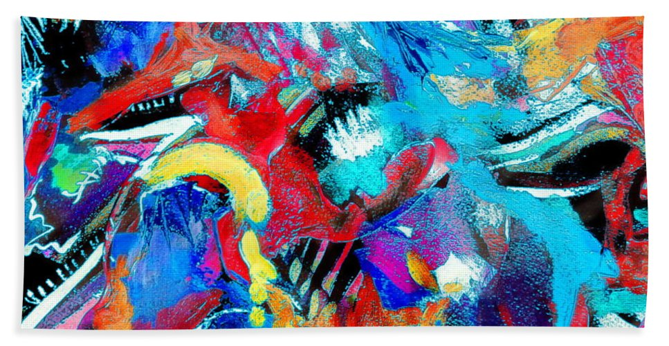 Abstract Expressionist Bright Colorful Bold And Contemporary. Bath Sheet featuring the painting Irreverent Revelation by Expressionistart studio Priscilla Batzell