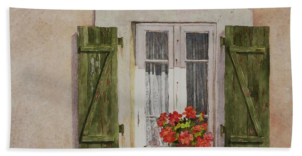Watercolor Bath Towel featuring the painting Irvillac Window by Mary Ellen Mueller Legault