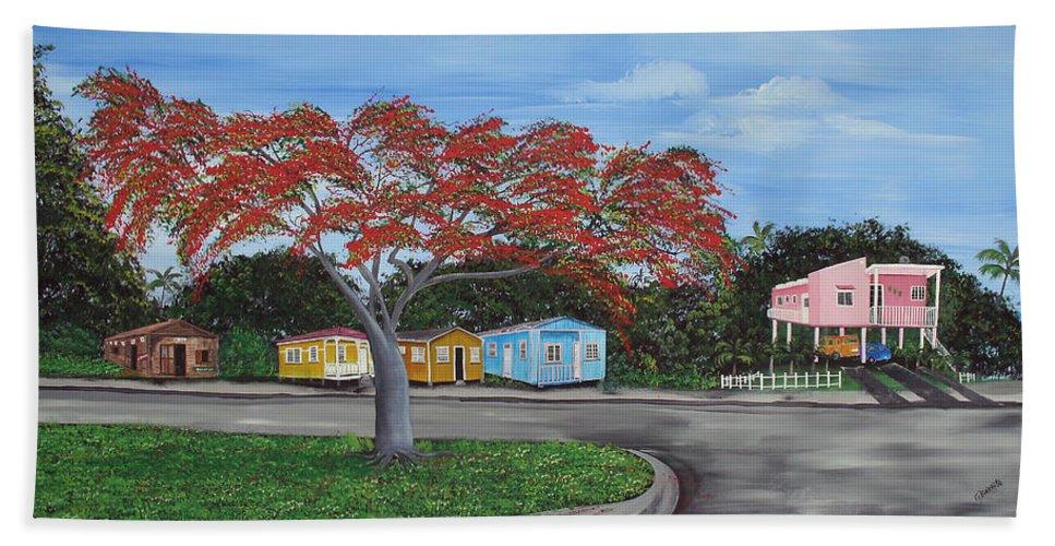 Isabela Street Bath Sheet featuring the painting Isabela Puerto Rico by Gloria E Barreto-Rodriguez
