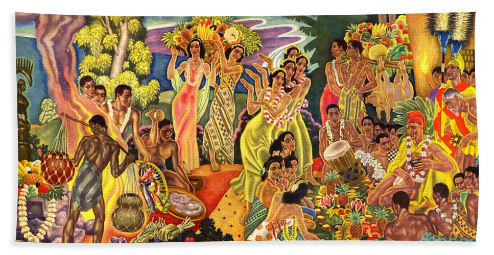 Hawaii Greeting Cards Bath Sheet featuring the painting Island Feast by James Temple