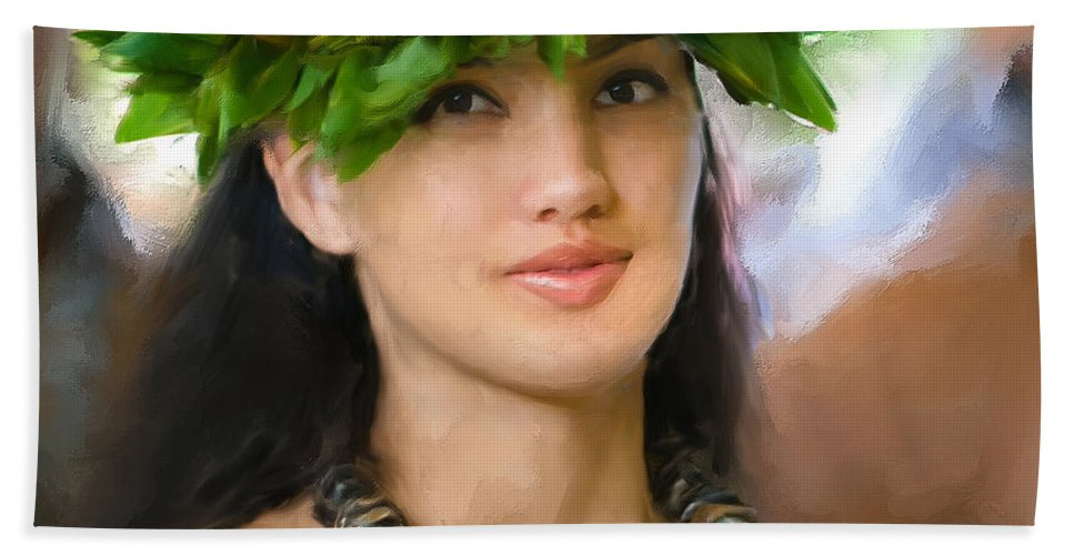Island Girl Hand Towel featuring the painting Island Girl by Dominic Piperata