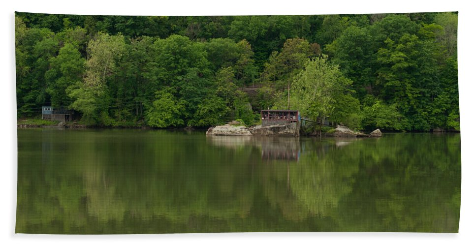 Feature Art Hand Towel featuring the photograph Island House On New River - West Virginia by Paulette B Wright