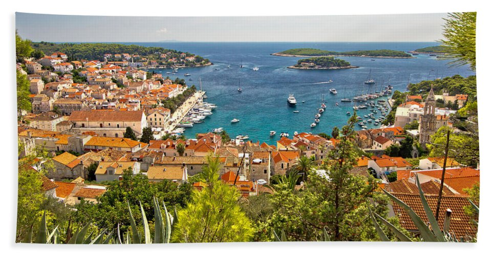 Panorama Bath Towel featuring the photograph Island Of Hvar Scenic Coast by Brch Photography