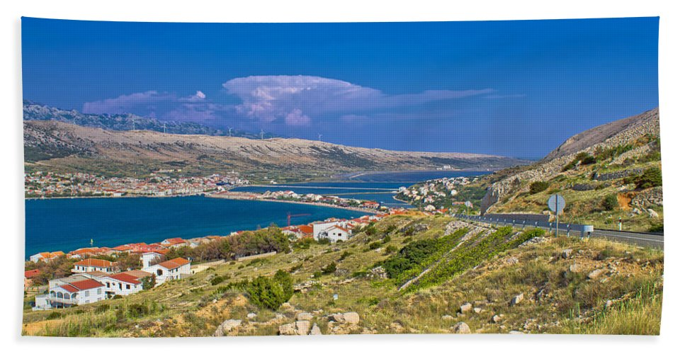 Croatia Hand Towel featuring the photograph Island Of Pag Aerial Bay View by Brch Photography