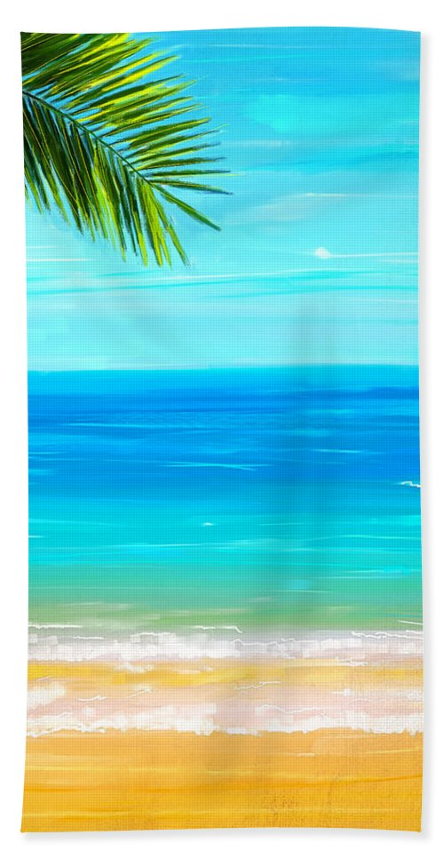 Seascapes Abstract Hand Towel featuring the painting Island Paradise by Lourry Legarde