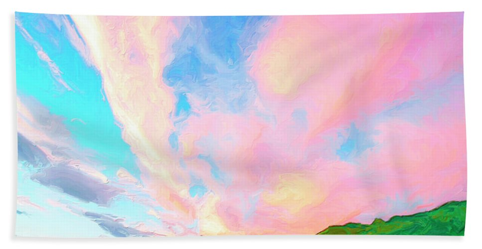 Island Hand Towel featuring the painting Island Sunrise by Dominic Piperata