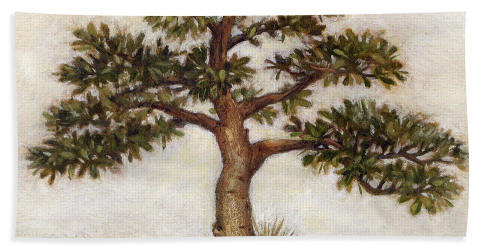 Island Hand Towel featuring the painting Island Tree by Randy Wollenmann