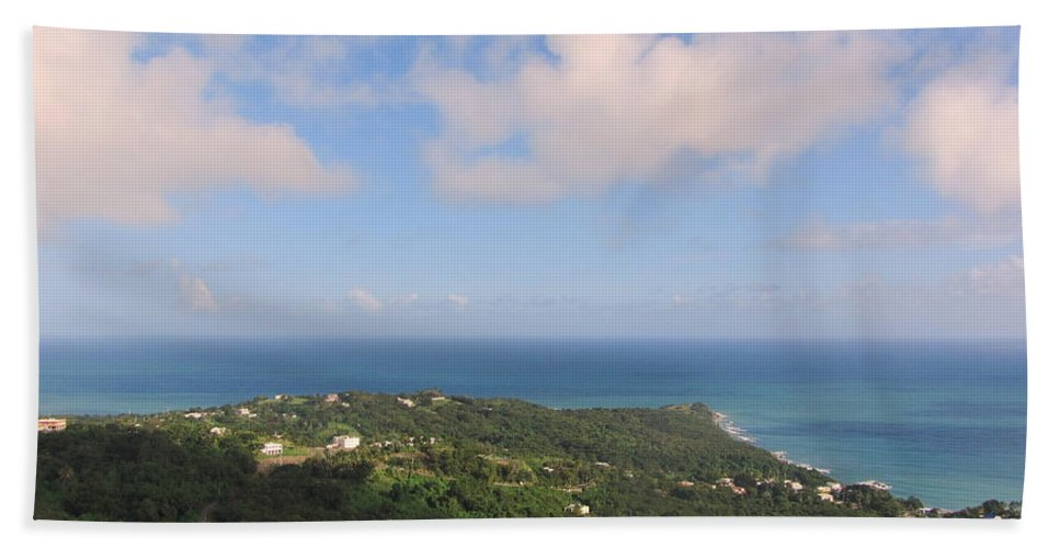 Beach Bath Sheet featuring the photograph Island View From High by Anita Burgermeister