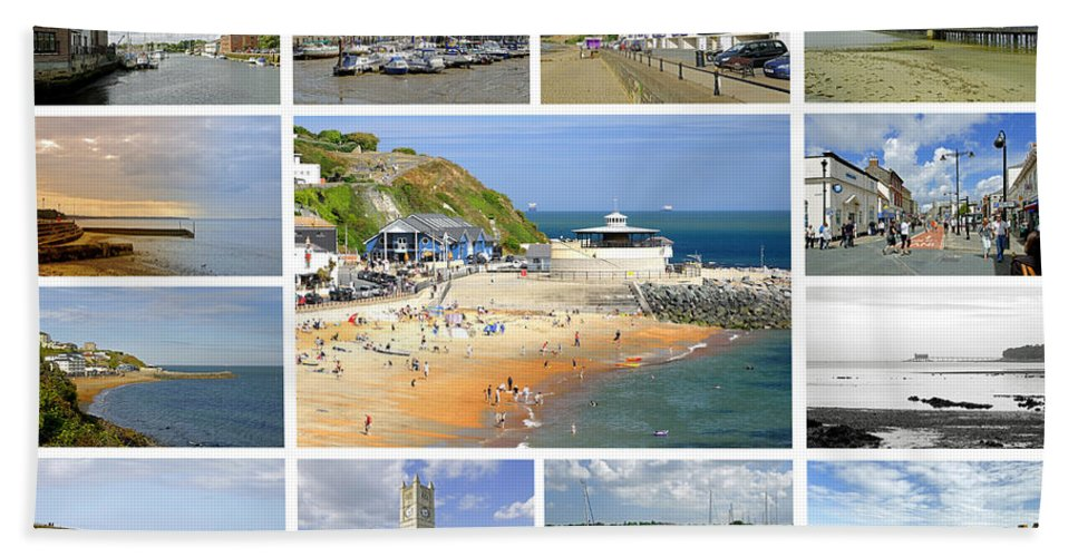 Europe Hand Towel featuring the photograph Isle Of Wight Collage - Plain by Rod Johnson