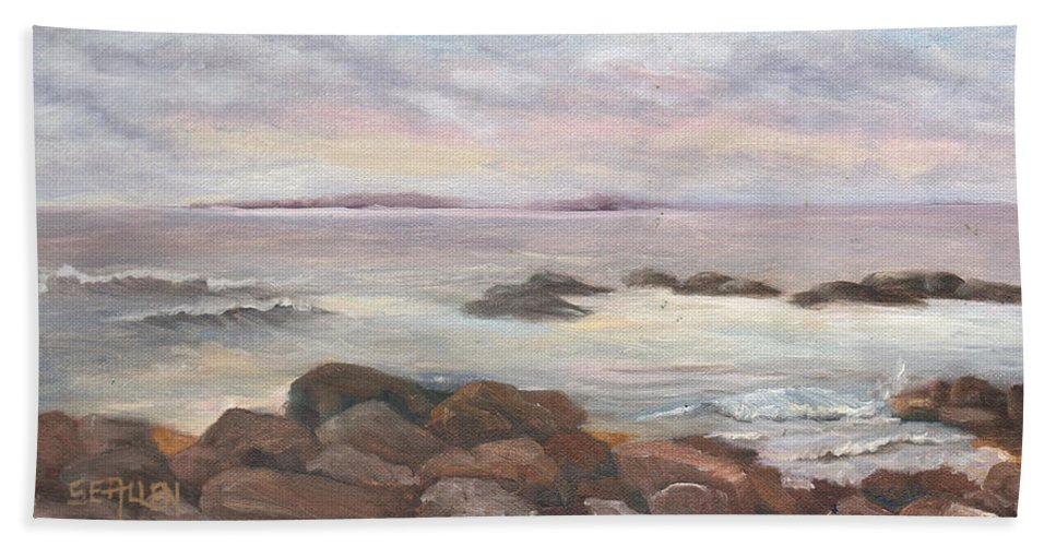 Isles Of Shoals Bath Towel featuring the painting Isles of Shoals from Odiorne Point by Sharon E Allen