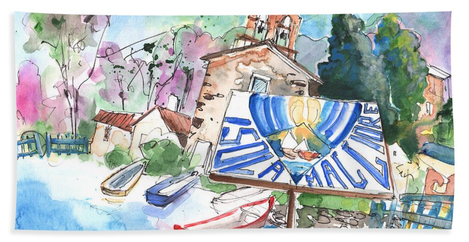 Italy Bath Sheet featuring the painting Isola Maggiore In Italy 01 by Miki De Goodaboom