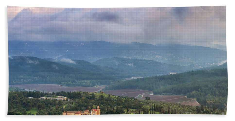 Aerial View Bath Sheet featuring the photograph Israel Latron Monastery And Winery by Nir Ben-Yosef