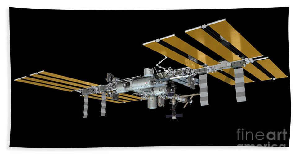 Iss Bath Sheet featuring the photograph ISS by Paul Fearn
