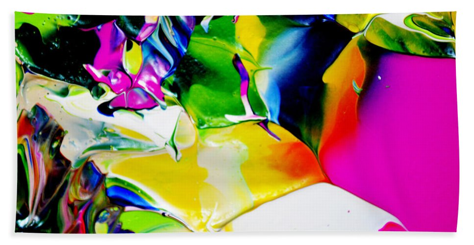 Abstract Hand Towel featuring the painting Botanical # 1218 by Antonia Lazaki