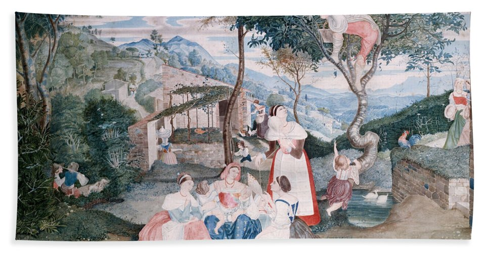 Franz Theobald Horny Bath Sheet featuring the painting Italian Country Life by Franz Theobald Horny