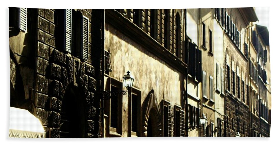 Italy Street View Hand Towel featuring the photograph Italian Facades by Ellen Cannon